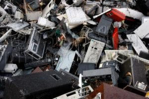 Electronic scrap, sorted electric household appliances, at a recycling yard, Germany